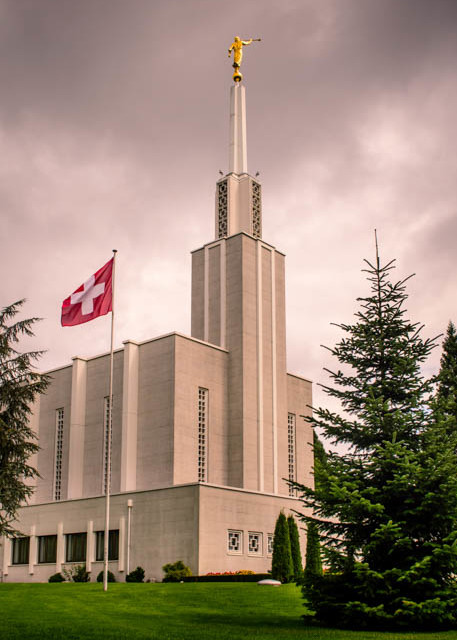 Switzerland Temple - Morning with Flag