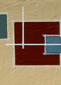 A long geometric abstract painting.