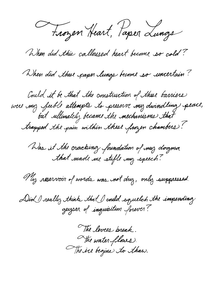 Frozen Heart, Paper Lungs - Text   Art & Paintings by Zak D. Parsons