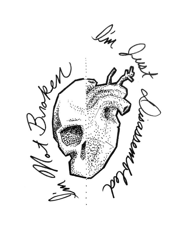 Heart and Skull - I'm Not Broken | Art & Paintings by Zak D. Parsons