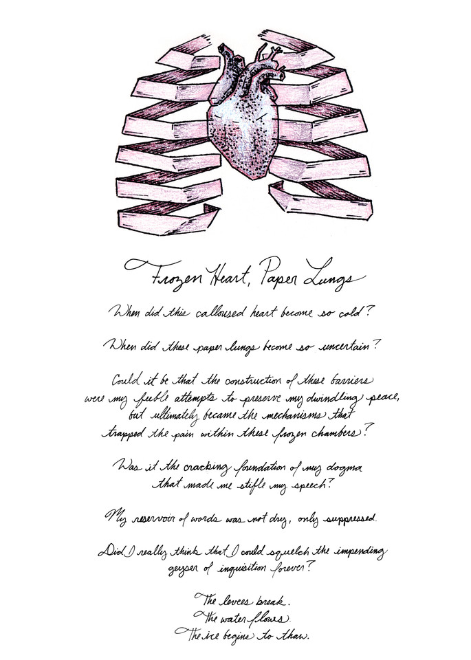 Frozen Heart, Paper Lungs - Drawing with Text | Art & Paintings by Zak D. Parons