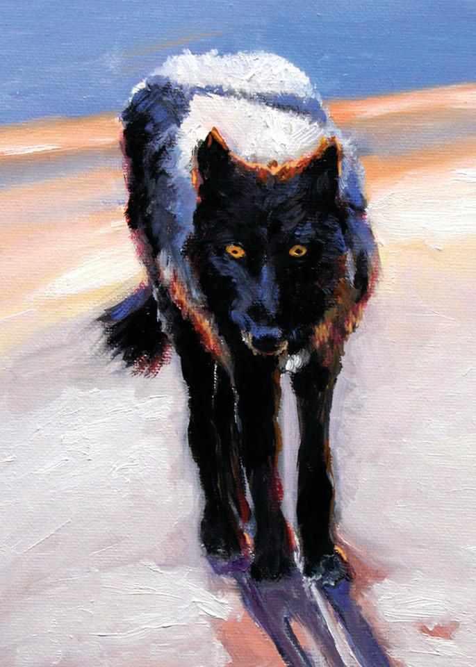 Black Wolf Snow Moon Shadow Orig Art   Charles Wallis