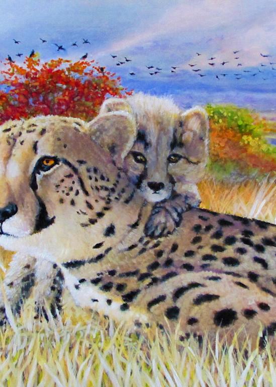 Cheetah And Cub Fw Art | Charles Wallis