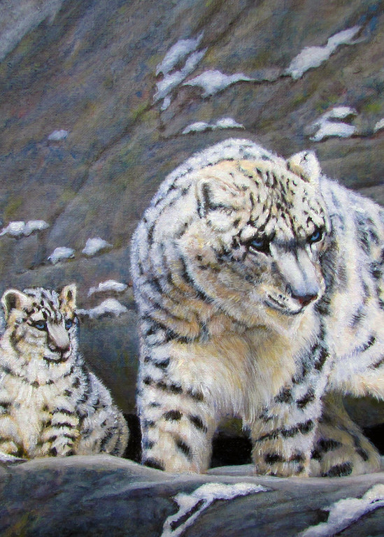 Snow Leopard And Cubs Art | Charles Wallis