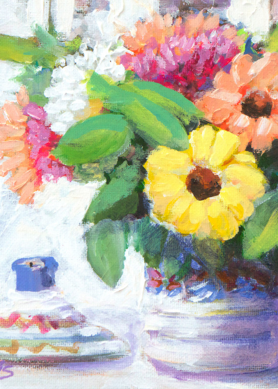Zinnas And Candle Still L Ife Art | Charles Wallis