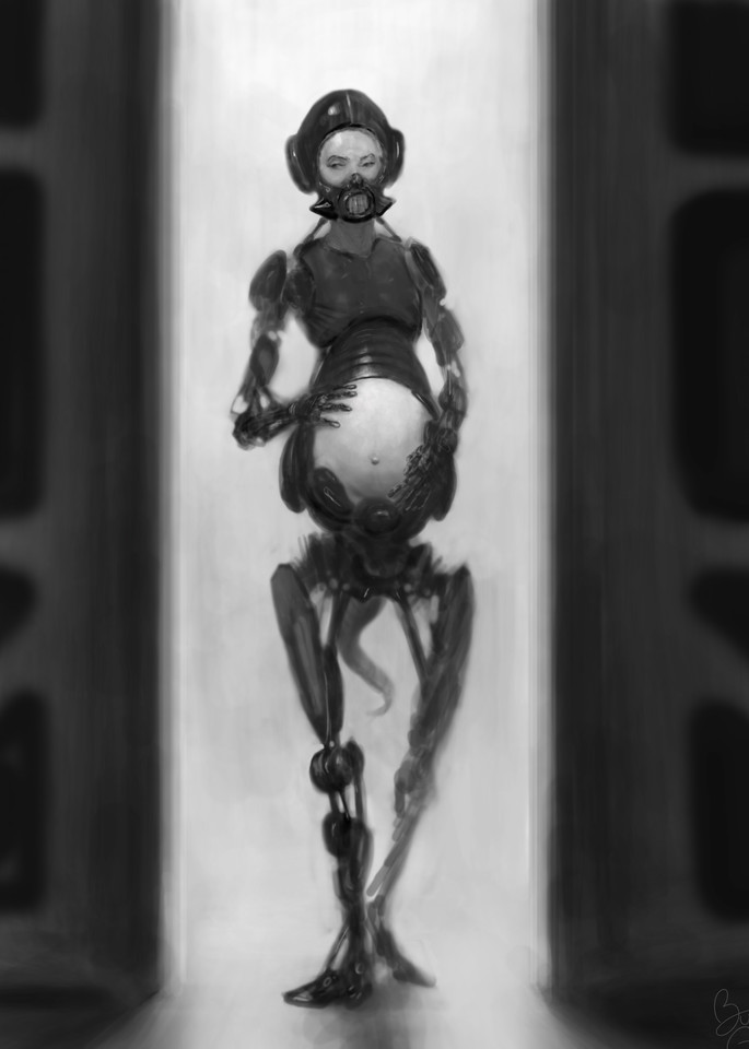 Painting of a pregnant robot, by the artist, Burton Gray