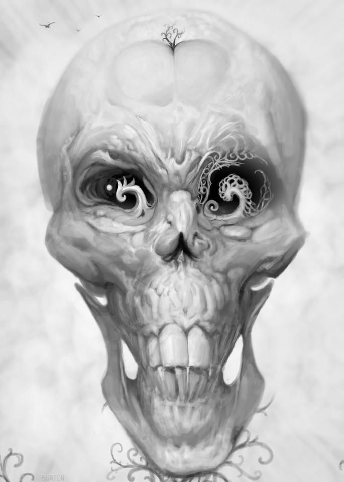 Burton Gray's Black White painting of a surreal skull