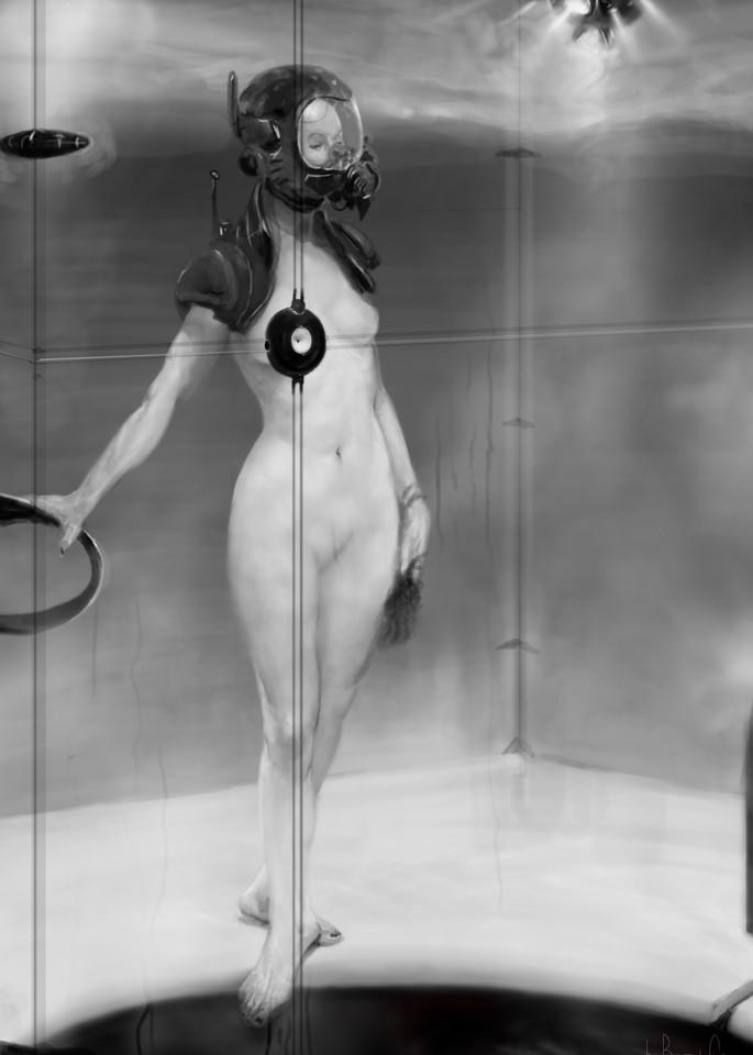 Burton Gray fine art painting of nude wearing gas mask.