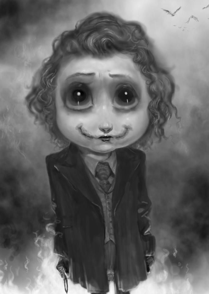 Burton Gray painting of a cute joker baby.