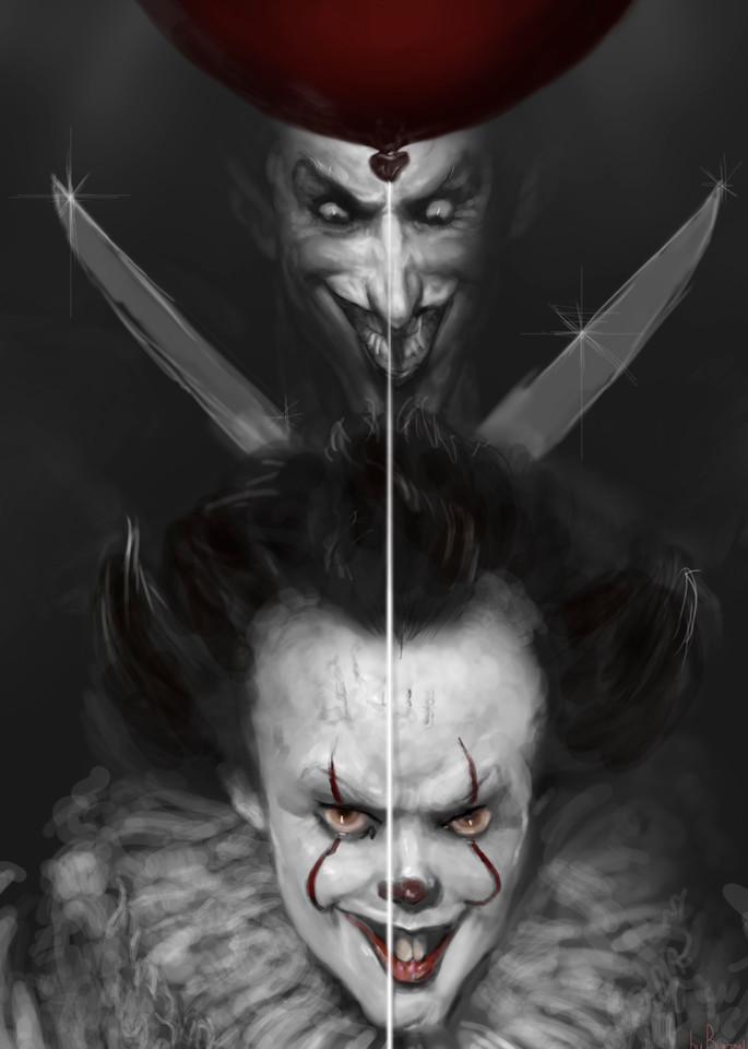 Burton Grays painting of joker vs. IT.
