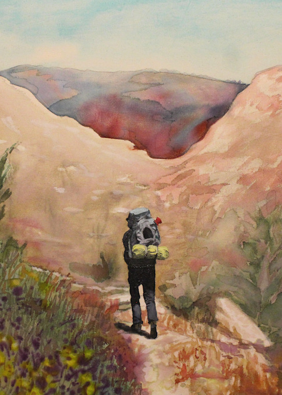 Hetch Hetchy Hiker 2 Landscape Painting by Michael