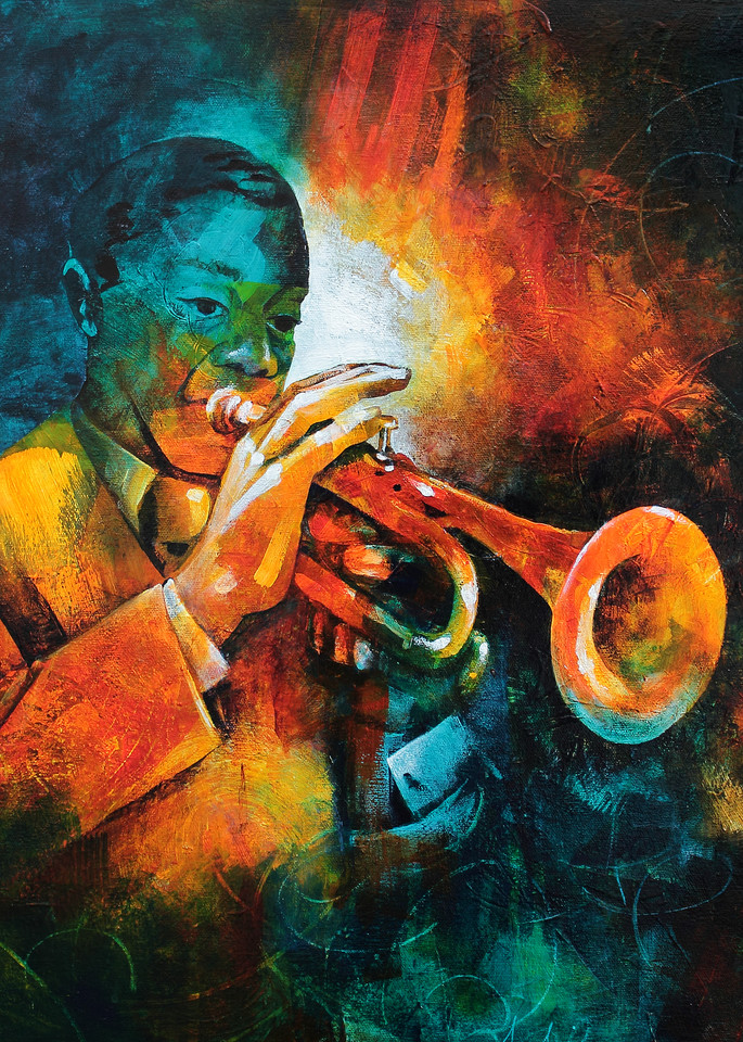 Pour Ink Painting Wall Art Print Louis Armstrong Poster