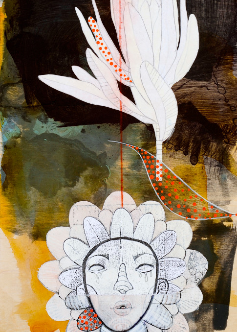 Protea King Art by Maui Artist Brad Huck for Sale - Wet Paint NYC Gallery Hawaii