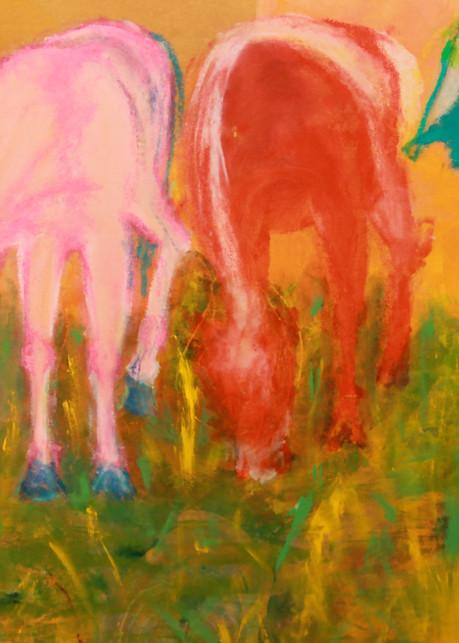 Three Horses Grazing Art | Pam White Art