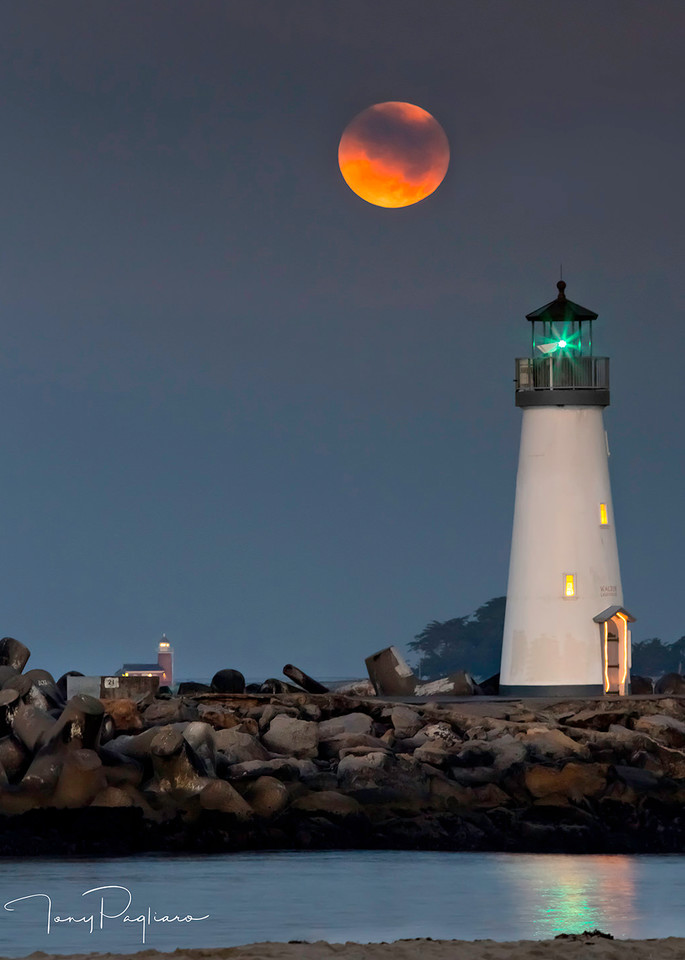 Moonset Over Lighthouses Art   Tony Pagliaro Gallery