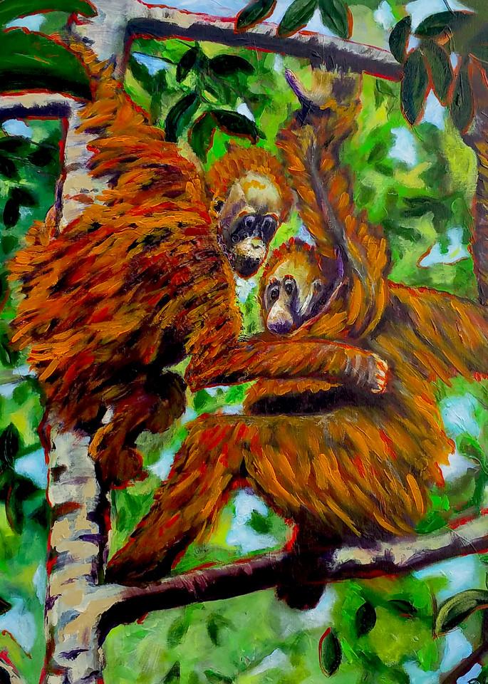 Hanging Orangutans in a Tropical Tree | Fine Art Painting Print by Rick Osborn