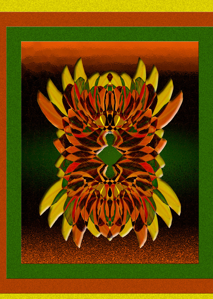 Zuni Mask print of photograph of Tufted Evening Primrose transformed into digital art for sale by Maureen Wilks