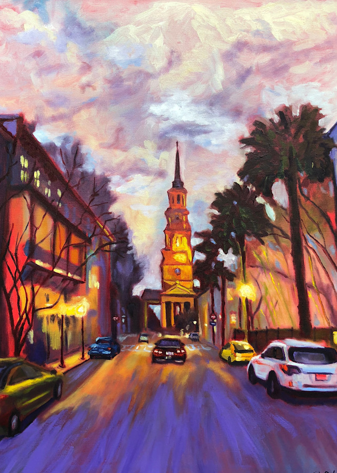 Twilight on Church Street - Charleston | Fine Art Painting Print by Rick Osborn