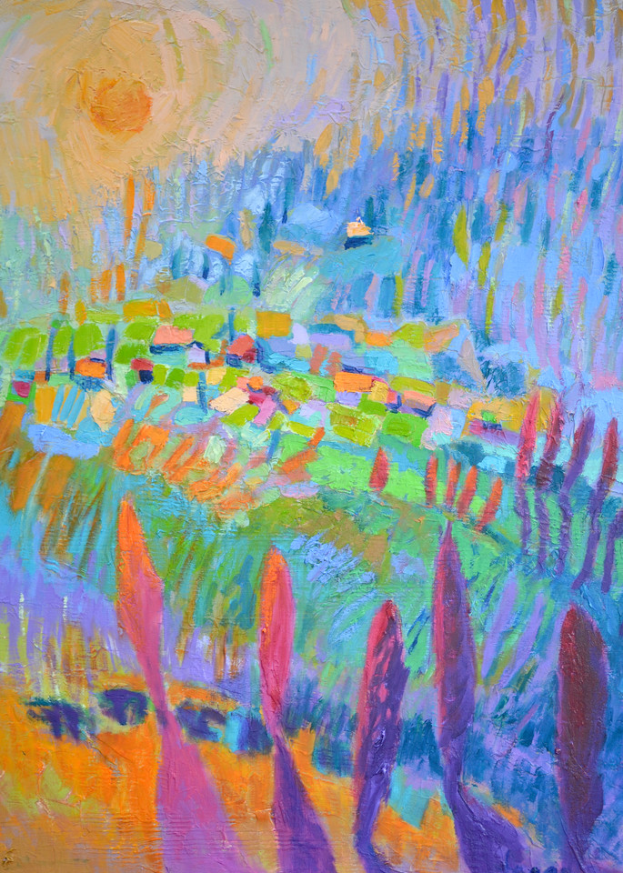 Colorful Abstract Landscape Painting Fine Art Print by Dorothy Fagan