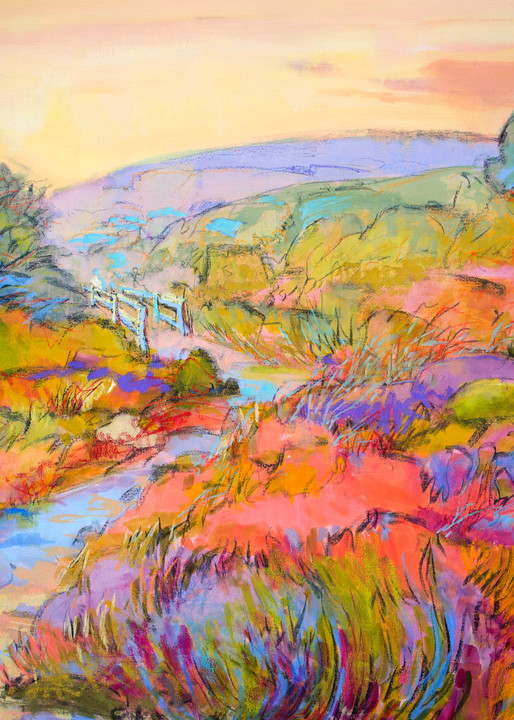 Heather Meadow Landscape Painting, Fine Art Print by Dorothy Fagan