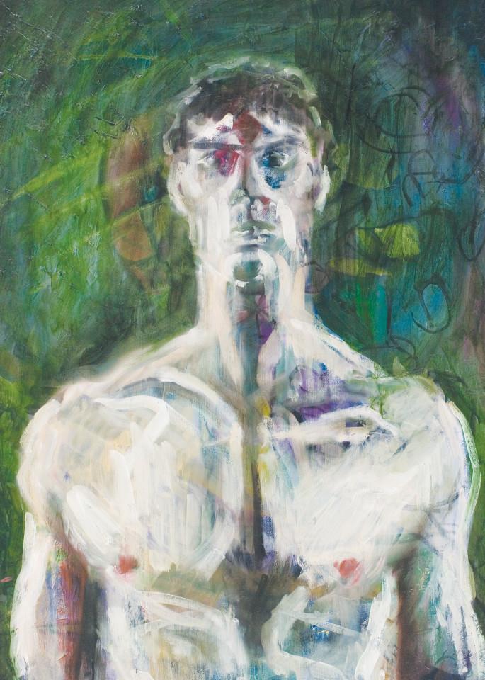 Self Portrait In Green Art   Sandy Garnett Studio