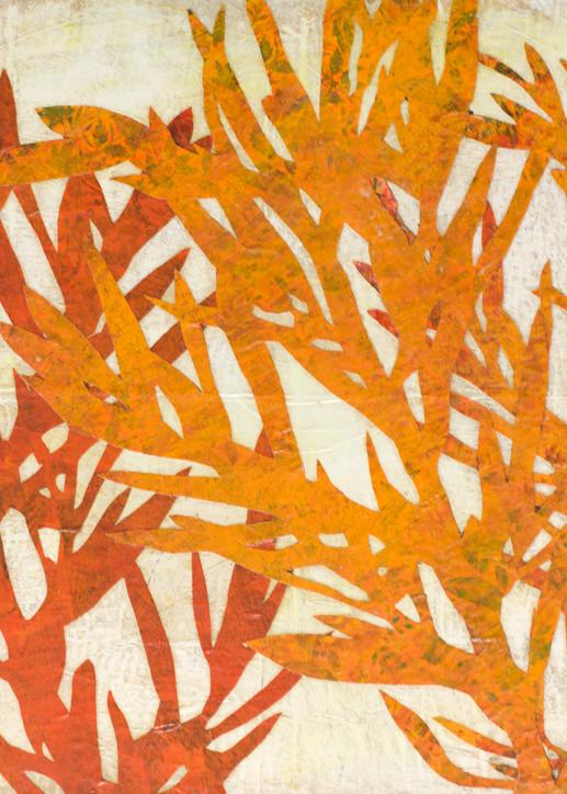 Orange Plant Silhouette Art   Karen Sikie Paper Mosaic Studio