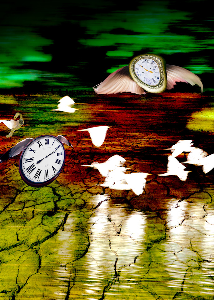 Time Flying By surreal and unusual art by Vincent DiLeo. Colorful art