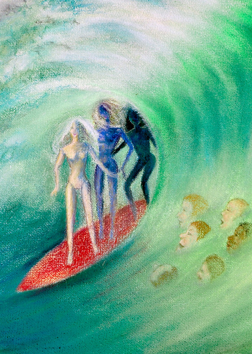 Barbies Surf - Irina Malmus art gallery. Order fine print of the unique art on paper, metal and canvas
