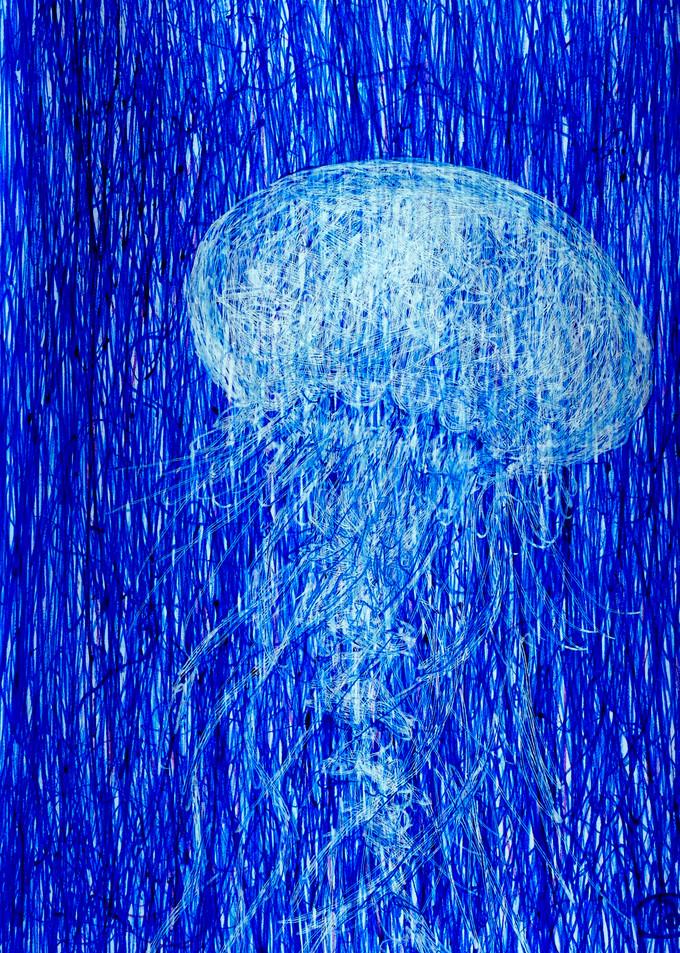 Fine Print of Blue Jellyfish ball pen drawing. Artist Irina Malkmus