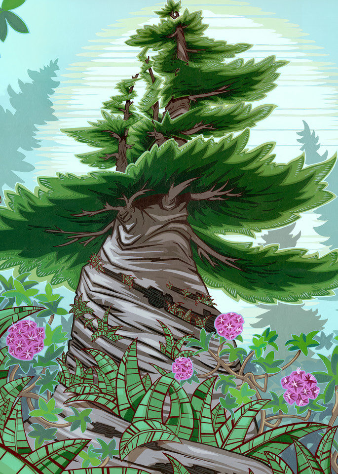Twisted Tree Painting by Spencer Reynolds