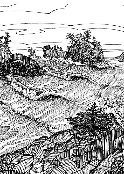 Secret Beach Dream Pen and Ink by Spencer Reynolds