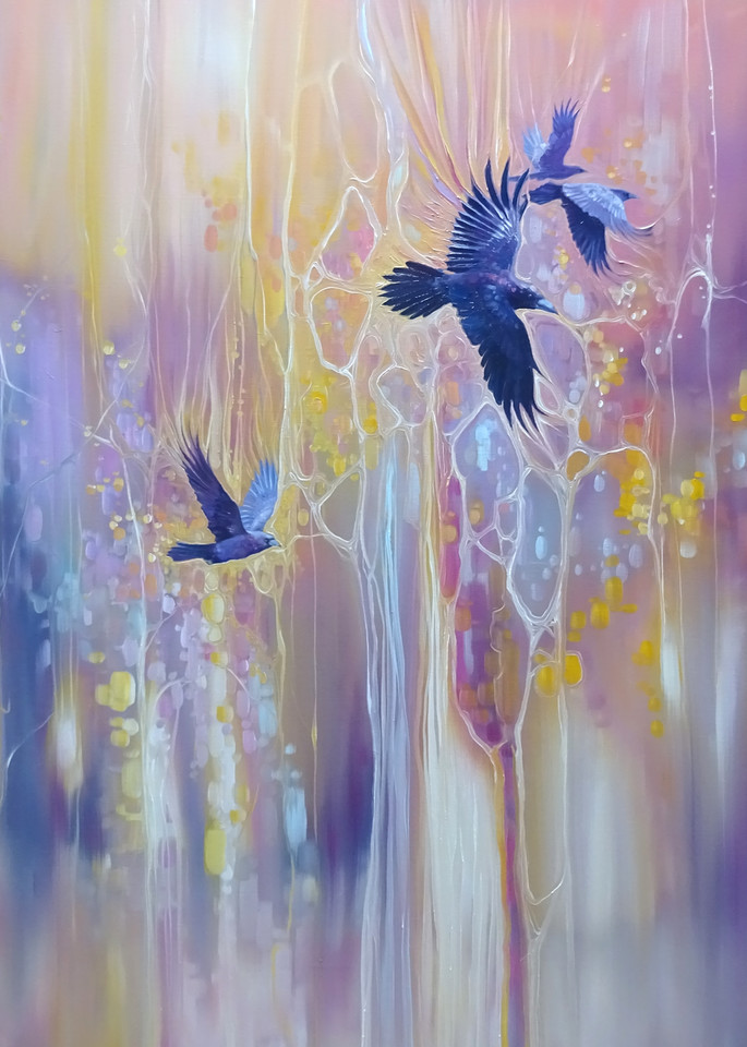 messengers of the gods winter abstract with crows painting