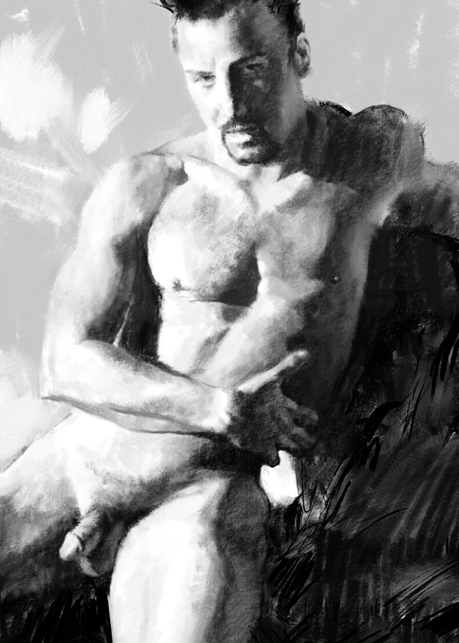 """Digital drawing by Eric Wallis titled, """"Seated Male Nude."""""""
