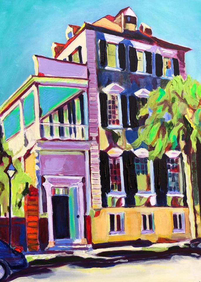 Classic Colorful Charleston House | Fine Art Painting Print by Rick Osborn