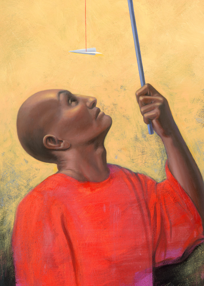 Fishing - Paper Airplane series painting on canvas by Paul Micich - for sale at Paul Micich Art
