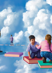 Cloud Library - inspirational school library mural painting - surreal children's storytelling mural and fine art prints - For Sale by Paul Micich Art