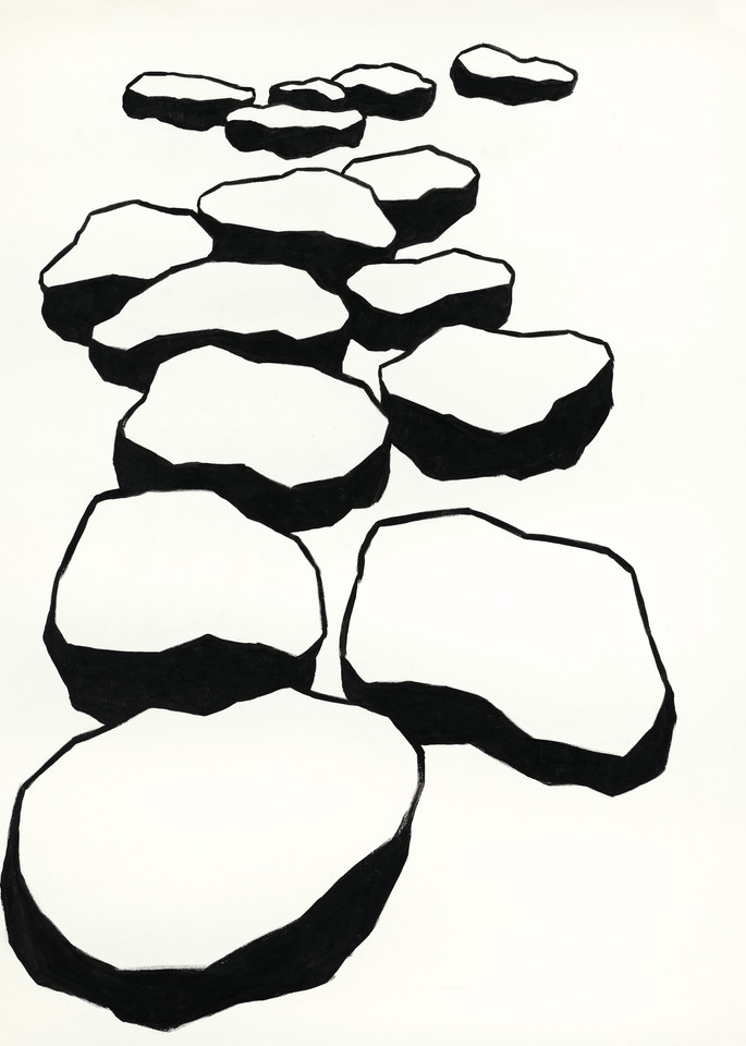 The Garden - 04 Black on White - Monochrome painting of Minimalist objects evoking a contemplative, peaceful space - For Sale at Paul Micich Art