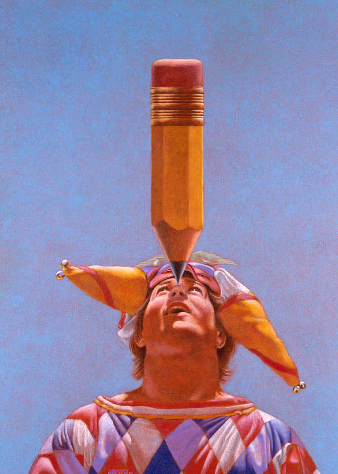 Jester - Surreal Storytelling painting of Jester balancing Huge Pencil on his nose - For Sale at Paul Micich Art