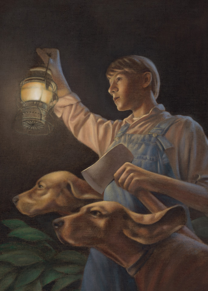 Where the Red Fern Grows - written by Wilson Rawls - inspirational painting of farm boy in overalls with lantern and Red Bone Hound dogs for book cover by Paul Micich