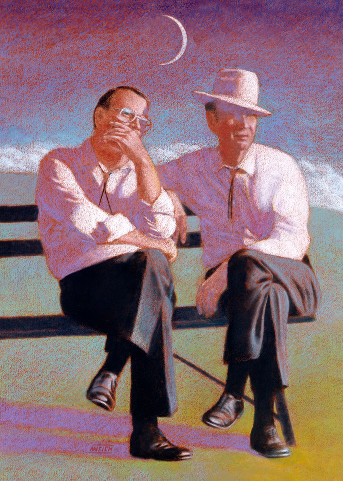 Pickers in Nashville - Surreal Storytelling painting of two Nashville musicians on a bench at Music Festival - for sale at Paul Micich Art