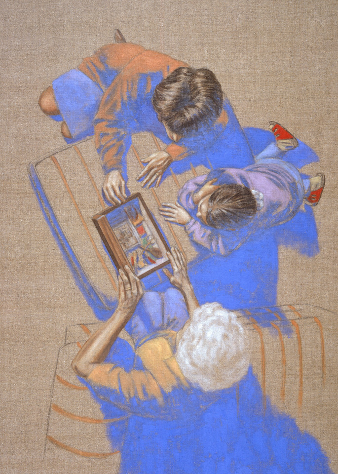 The Memory Box - Stories at Hand - book written by Mary Kay Shanley, - painting by Paul Micich  Three generations share a box of memories, gramma, daughter, grand daughter