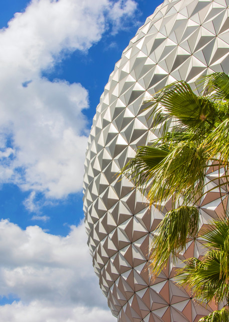Spaceship Earth and Palm Tree 2018 - Epcot Art | William Drew