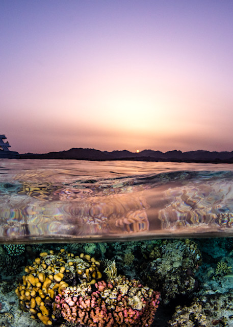Whirlwind Split at Sunset in the Red Sea available as a fine art photograph for sale