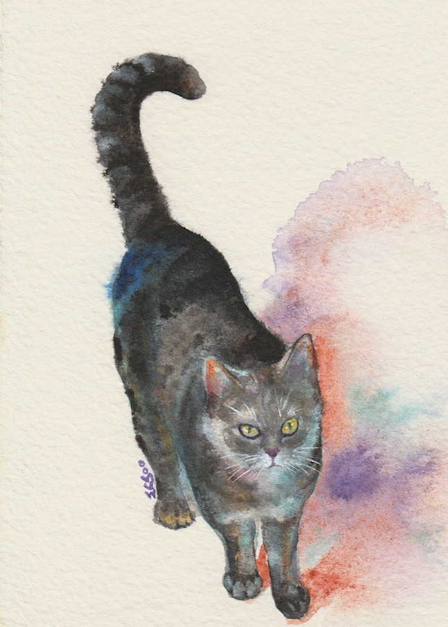 Tabby Cat Strolling Painting