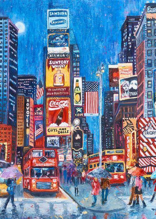 times-square, art, print, lovers, umbrellas, street-scene