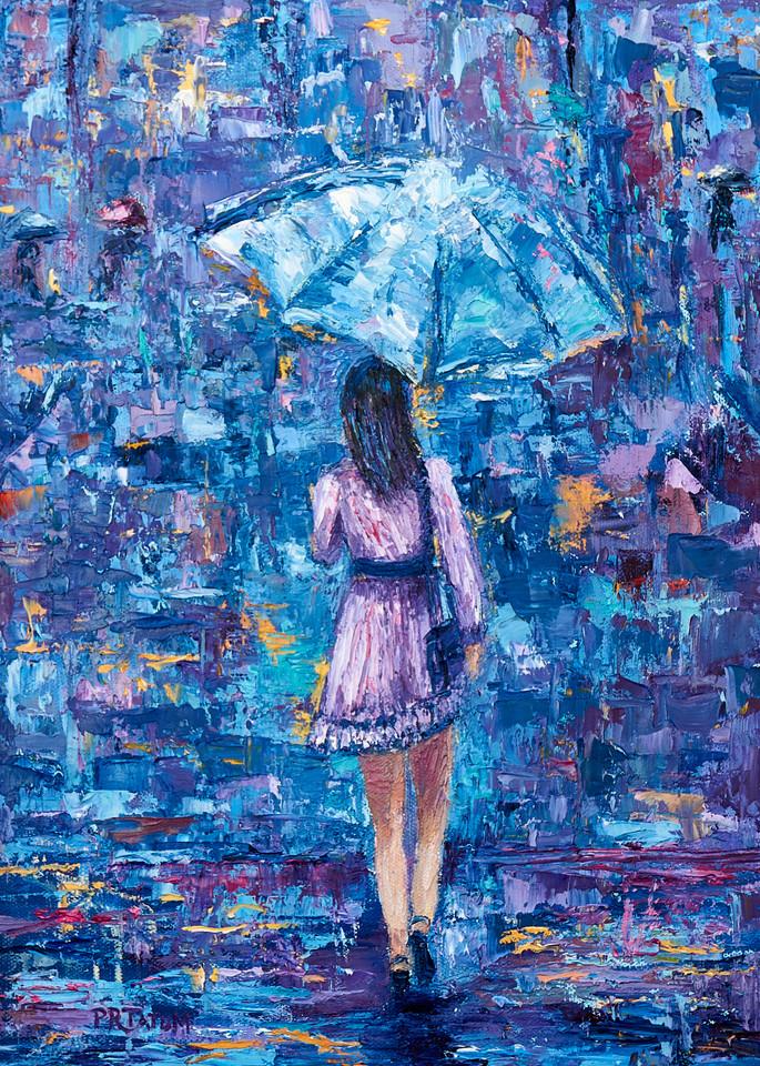 blue umbrella girl in purple dress print