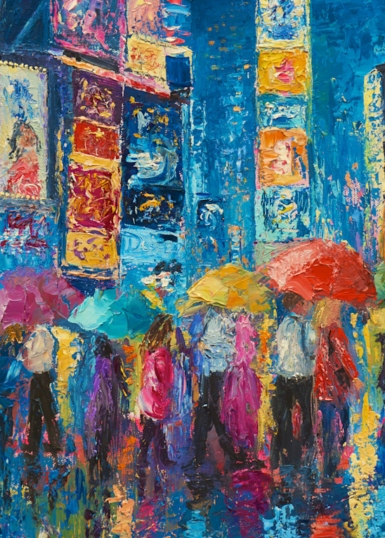 times-square, art-print, nyc, romantic, lovers, umbrellas