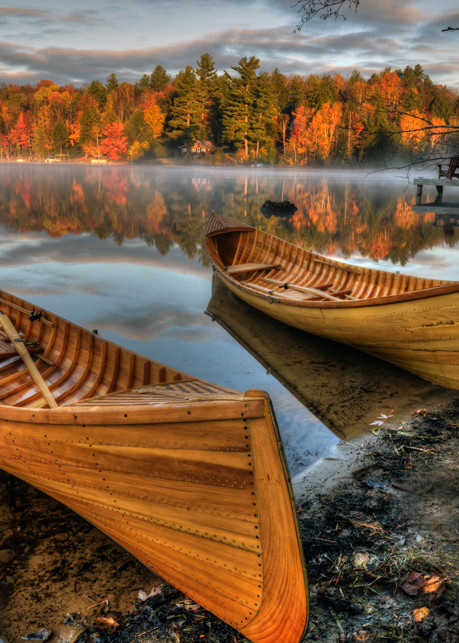 Autumn Guideboats On Lake Flower Art | Michael Sandy Photography
