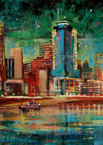 Cincinnati skyline painting