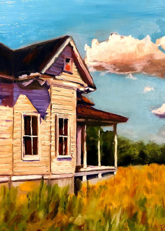 Back Home Farmhouse | Original Fine Art Painting Print by Rick Osborn